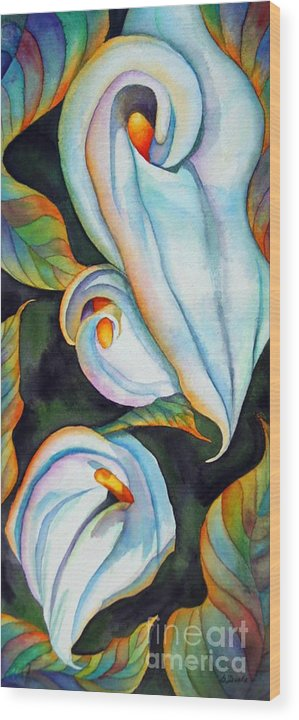 Floral Wood Print featuring the painting Soft Swirl by Gail Zavala