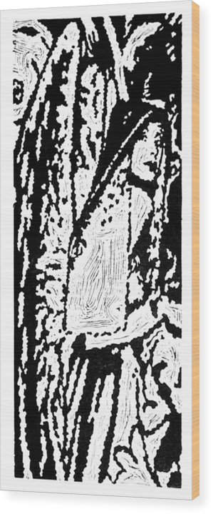 Angel Wood Print featuring the painting The Seeker -- Hand-pulled Linoleum Cut by Lynn Evenson
