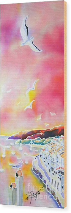 Spain Wood Print featuring the painting Sunset In Costa Brava by Hisayo Ohta