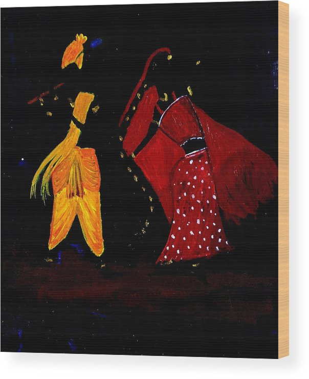 Radha Wood Print featuring the painting Radha Krishna Dancing by Pratyasha Nithin
