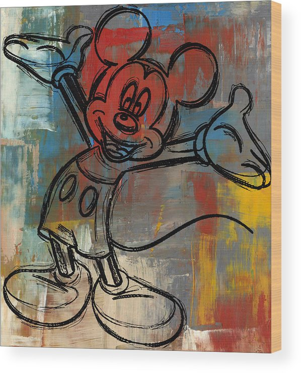 Wright Wood Print featuring the digital art Mickey Mouse Sketchy Hello by Paulette B Wright