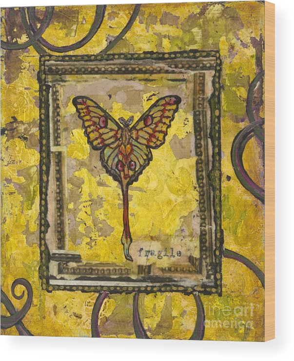 Butterfly Wood Print featuring the painting One by Sandra Dawson