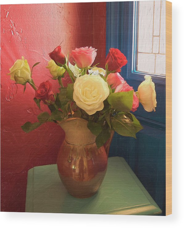 Still Life Wood Print featuring the digital art Roses For Sandra by Sandra Selle Rodriguez