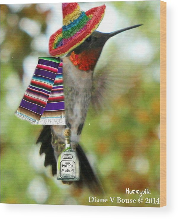 Art Wood Print featuring the digital art The Partying Hummer by Diane V Bouse
