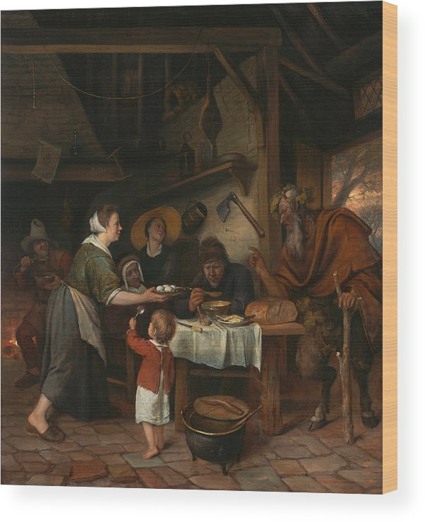 Baroque Wood Print featuring the painting The Satyr And The Peasant Family by Jan Steen