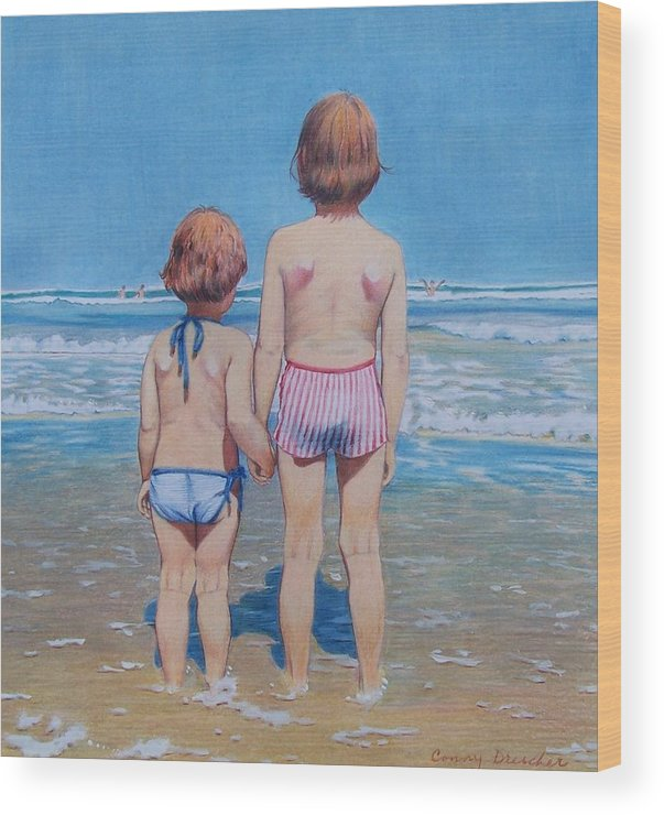 Kids Wood Print featuring the mixed media Are We Having Fun Yet by Constance Drescher