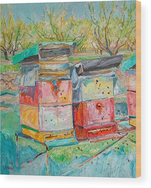 Landscape Wood Print featuring the painting Beehives In Orchard by Vitali Komarov