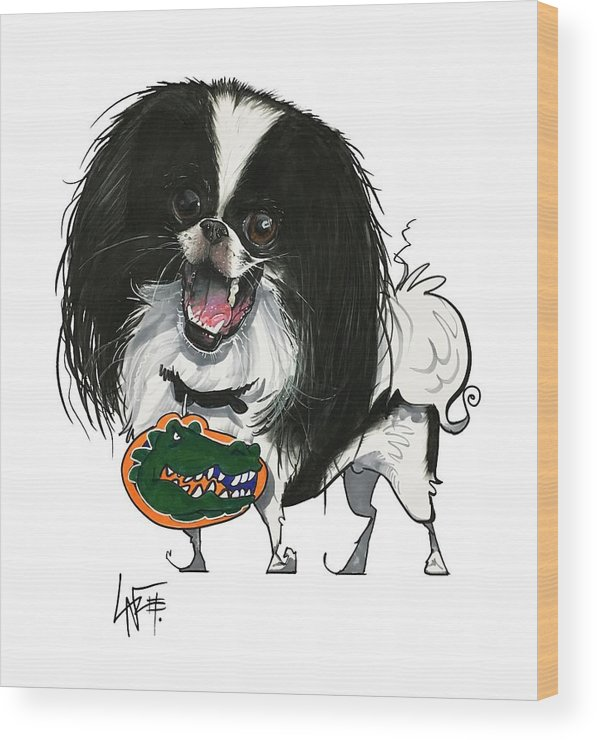 Pet Portrait Wood Print featuring the drawing Davidson 7-1462 by John LaFree