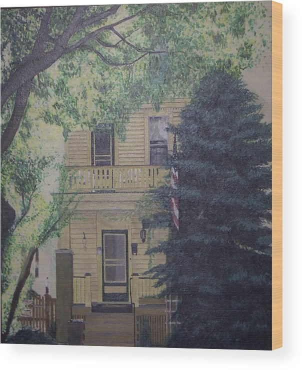 House Landscape Milwaukee Wi Wood Print featuring the painting East-side Living by Sally Van Driest