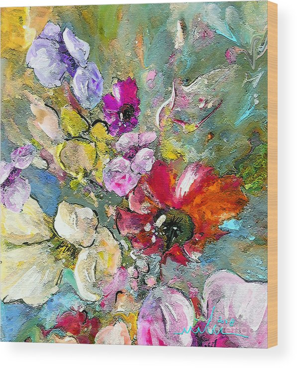 Nature Painting Wood Print featuring the painting First Flowers by Miki De Goodaboom