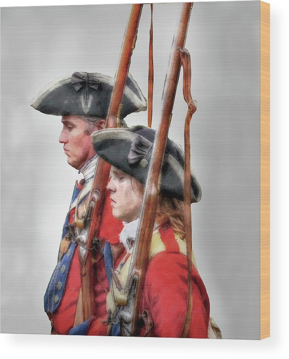 Uniform Wood Print featuring the digital art Fort Ligonier Soldiers by Randy Steele