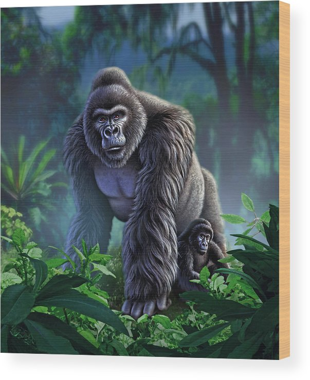 Gorilla Wood Print featuring the painting Guardian by Jerry LoFaro