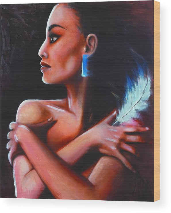 Native American Wood Print featuring the painting Little Eagle by Elizabeth Silk