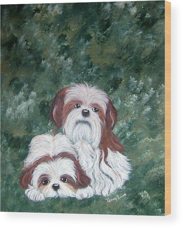 Shih Tzu Wood Print featuring the painting Loving Shih Tzu by Tammy Brown