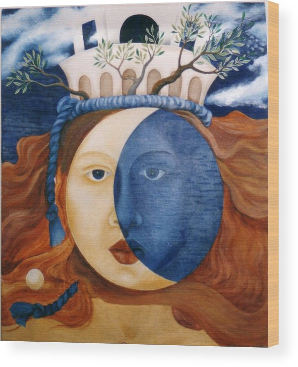 Faces Wood Print featuring the painting Moon Face by Amrei Al-Tobaishi-Jarosch