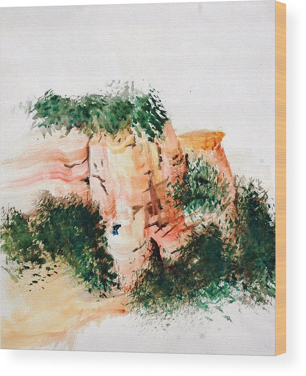 Landscape Wood Print featuring the painting Outside Sedona by David Keene