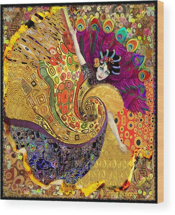 Peacock Wood Print featuring the digital art Peacock by Martha Bennett