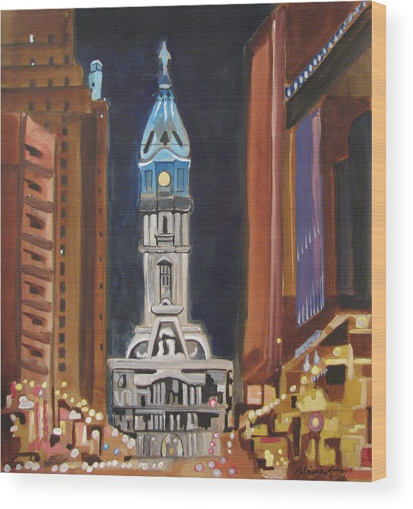 Landmarks Wood Print featuring the painting Philadelphia City Hall by Patricia Arroyo