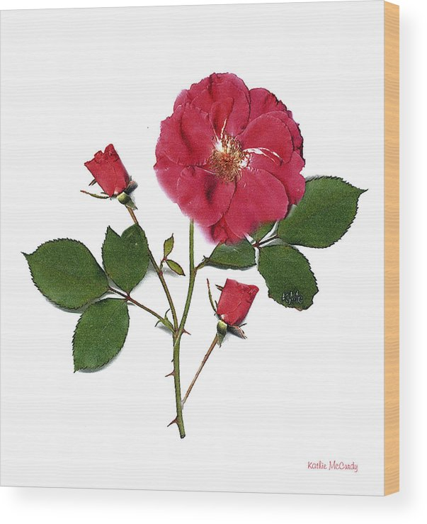 Rose Wood Print featuring the mixed media Red Rose by Kathie McCurdy