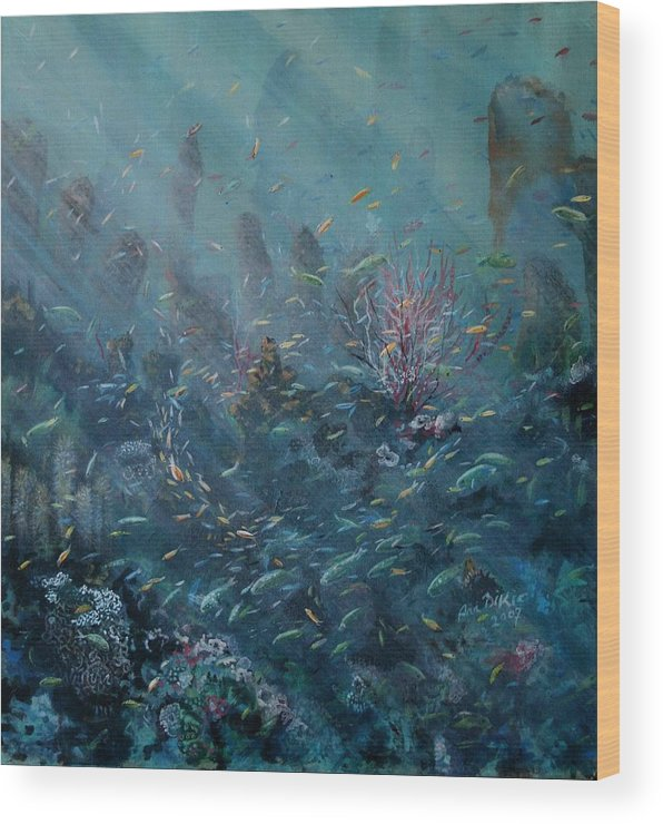Reef Wood Print featuring the painting Rejuvenation by Ana Bikic