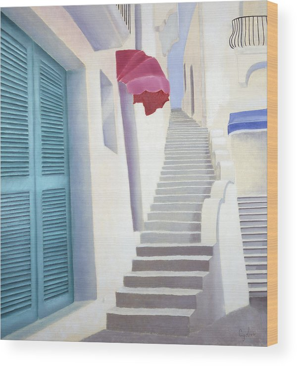Old Steps Wood Print featuring the painting Scalinata Antica by Gloria Cigolini-DePietro