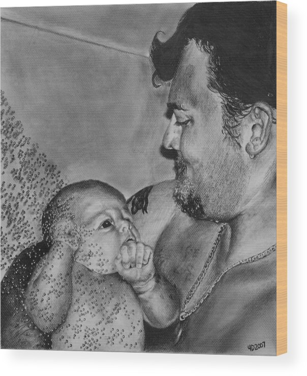 Figure Wood Print featuring the drawing Showered In Daddy's Love by Darcie Duranceau