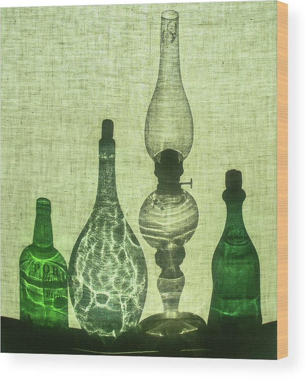 Still Life Wood Print featuring the photograph Three Bottles And A Lamp by Michal Jansa