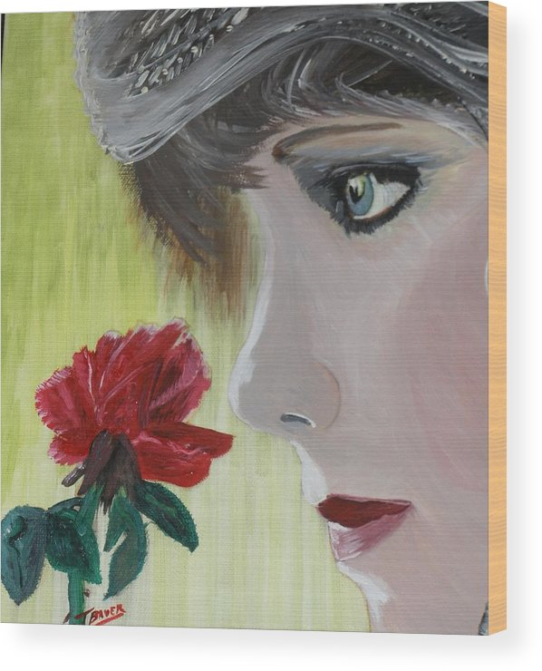 Romance Wood Print featuring the painting Wedding Rose by J Bauer