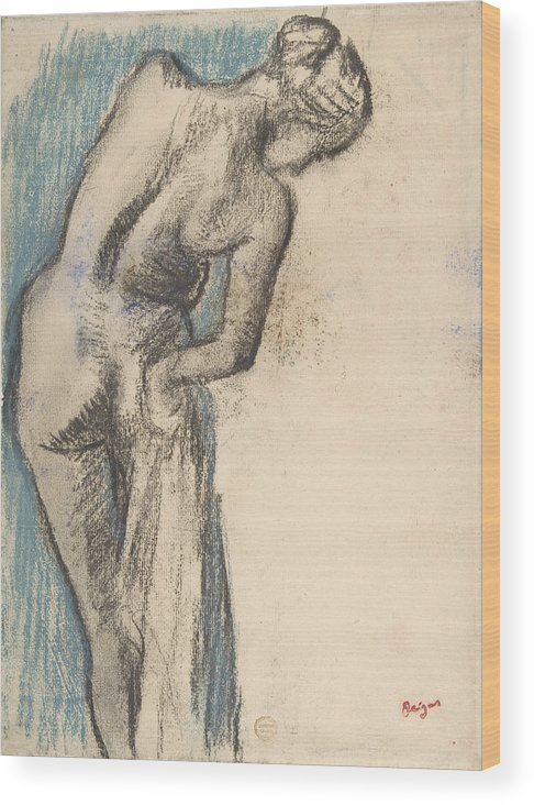 Edgar Degas Wood Print featuring the drawing Bather Drying Herself by Edgar Degas