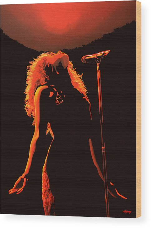 Shakira Wood Print featuring the painting Shakira by Paul Meijering
