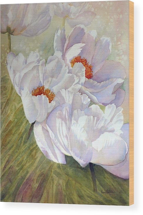 White Peonies Wood Print featuring the painting Peony Party by Karen Mattson