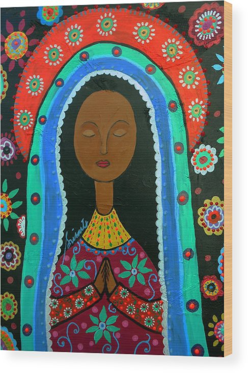 Virgin Wood Print featuring the painting Virgin Guadalupe by Pristine Cartera Turkus
