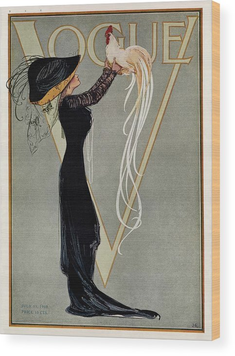 Illustration Wood Print featuring the photograph Vintage Vogue Cover Of Woman With Rooster by Artist Unknown