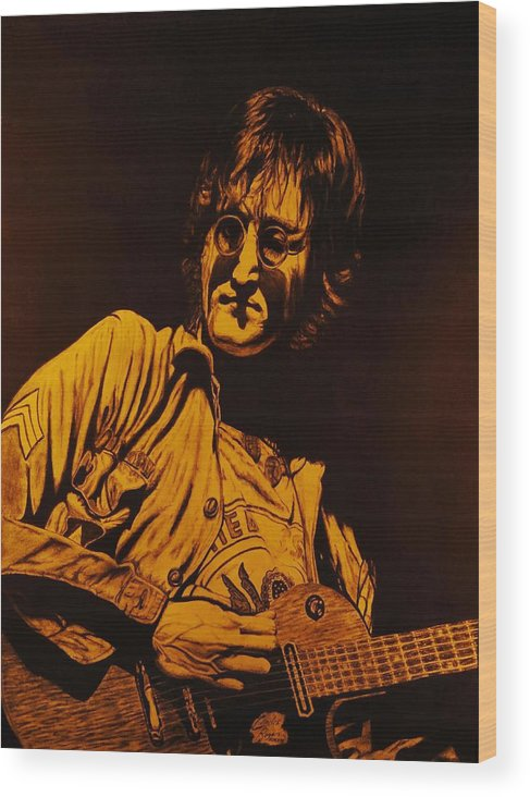 Lennon Wood Print featuring the drawing John Lennon 1972 by Charles Rogers