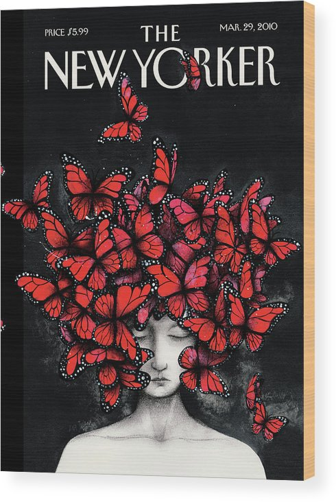 Butterflies Wood Print featuring the painting New Yorker March 29th, 2010 by Ana Juan