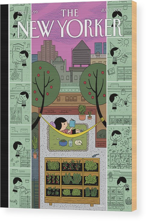 Roof Wood Print featuring the painting New Yorker July 1st, 2013 by Ivan Brunetti