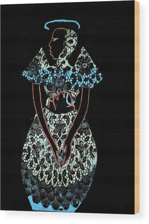 Jesus Wood Print featuring the painting Madonna And Child by Gloria Ssali