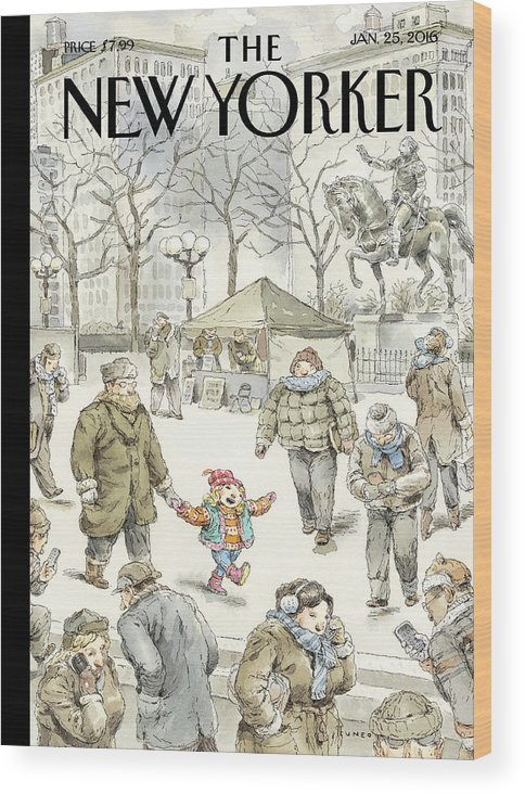 Child Wood Print featuring the painting Winter Delight by John Cuneo