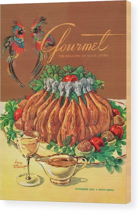 Food Wood Print featuring the photograph A Gourmet Cover Of Chicken by Henry Stahlhut