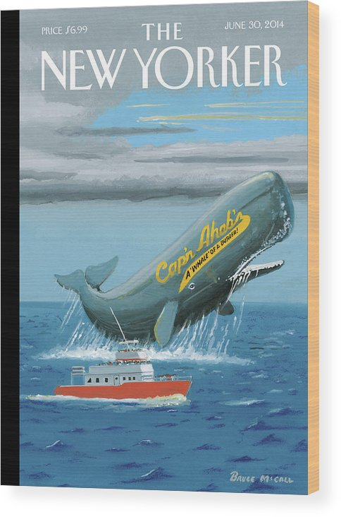 Ocean Wood Print featuring the painting Capn Ahabs by Bruce McCall