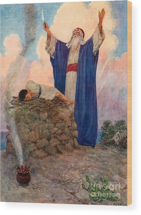 Bible; Abraham; Isaac; Mount Moriah; Sacrifice Wood Print featuring the painting Abraham And Isaac On Mount Moriah by William Henry Margetson