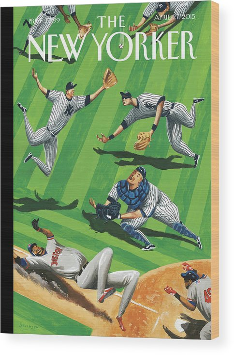 Yankees Wood Print featuring the painting Baseball Ballet by Mark Ulriksen