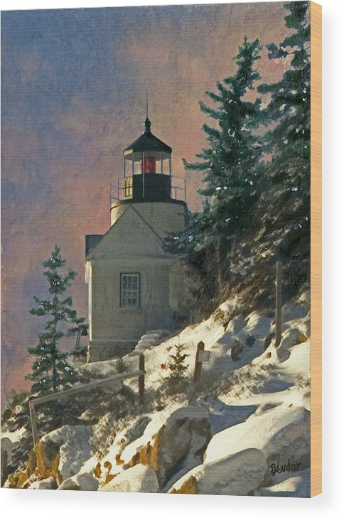 Bass Harbor Wood Print featuring the painting Bass Harbor Light In A Winter Storm by Brent Ander