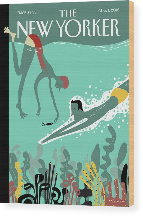 Beneath The Waves Wood Print featuring the painting Beneath The Waves by Frank Viva
