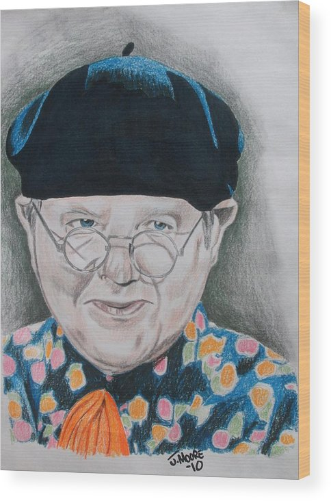 Benny Hill British Comedy English England Actor Celebrity Wood Print featuring the drawing Benny Hill by Jeremy Moore