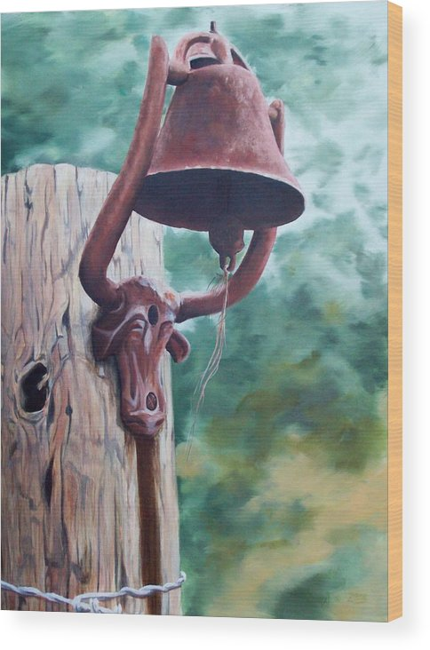 Landscape Wood Print featuring the painting Beorne Texas  Cowbell by Scott Alcorn