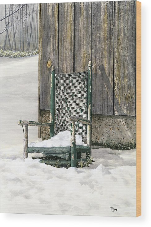 Chair Wood Print featuring the painting Better Days - Winter by Ted Head