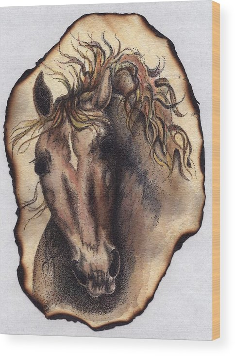Horses Wood Print featuring the painting Burned Art by Jodi Bauter