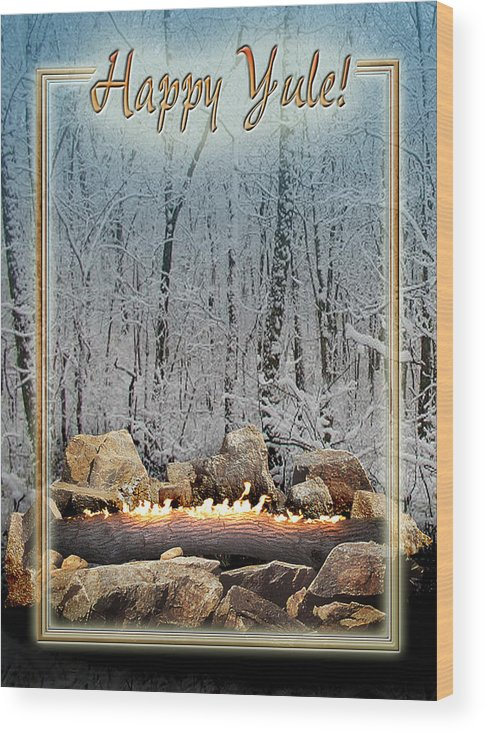 Yule Wood Print featuring the digital art Burning Yule Log by Melissa A Benson