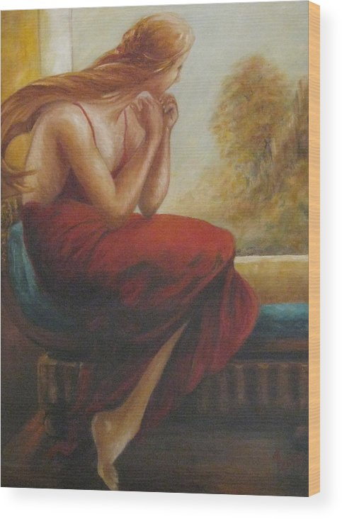 Woman Wood Print featuring the painting By The Window by Jessy